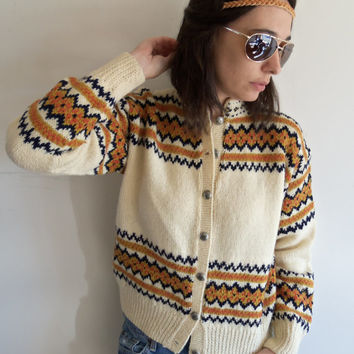 Vintage Thick and Heavy Boho Hippie Tribal Cream and Browns Button Up Cardigan Sweater
