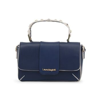 Laura Biagiotti Blue Leather Handbag