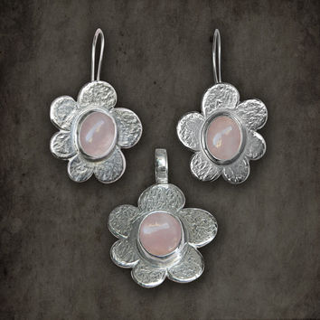 Pink Flowers sterling silver earrings and pendant ooak jewelry set with rose quartz gemstones