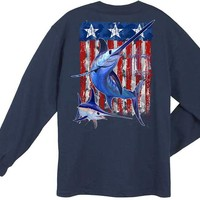 Guy Harvey Swordfish Flag Back-Print Men's Long Sleeve Tee in White or Navy Blue