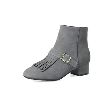 Tassel Buckle Chunky Heeled Short Boots for Women 3846