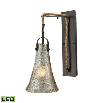 Hand Formed Glass 1-Light Wall Lamp in Oiled Bronze with Mercury Glass - Includes LED Bulb