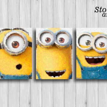minion poster set of 3: stuart kevin and bob nursery print kids wall decor