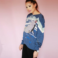 Vintage 80s Blue Gray Sweater with porpoise Whale - long sleeve - small - medium -MALINA WONG - puffy sleeves