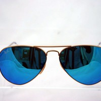 Cheap Ray Ban RB 3025 112/4L 58mm Gold/Blue Mirror Aviator Men's Polarized Sunglasses outlet