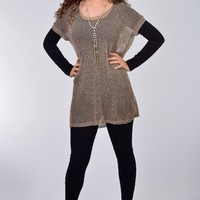 Umgee Mocha Over-sized Mesh Tunic Tee