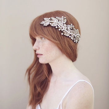 Crystal wedding headpiece, hair wrap, headband - Antique crystal headwrap - Style 330