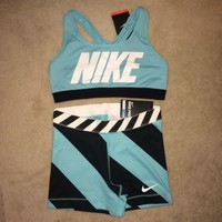 Nike Pro Compression Shorts and Sports Bra Set Light Aqua Blue Medium [M] NWT!
