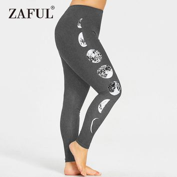 Plus Size Monochrome Moon Leggings Yoga Pants Women Big Size XL-5XL