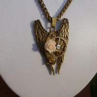 Steampunk Clockworks Angel Wings Necklace with Peach Rose