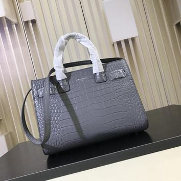 DCCK S007 Saint Laurent Paris Fashion Crocodile-striped cowhide Handbag 32cm Gray