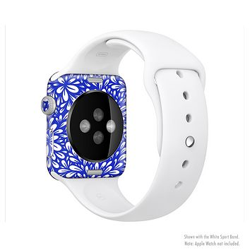 The Royal Blue & White Floral Sprout Full-Body Skin Kit for the Apple Watch