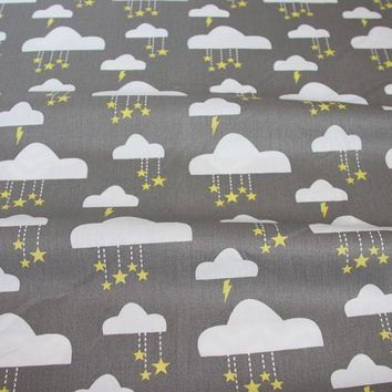 Syunss,Gray Back Clouds Print Cotton Fabric DIY Tissu Patchwork Telas Sewing Baby Toy Bedding Quilting Cloth Craft Tecido tilda