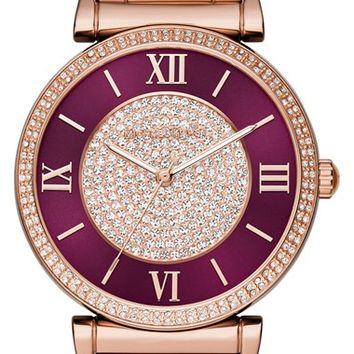 Women's MICHAEL Michael Kors 'Catlin' Bracelet Watch, 38mm - Rose Gold/ Crimson