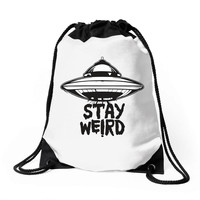 stay weird Drawstring Bags