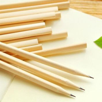 4pcs/lot NEW Students Simple style Blank Nontoxic Environmental wooden pencils Kawaii painting log pens for kids