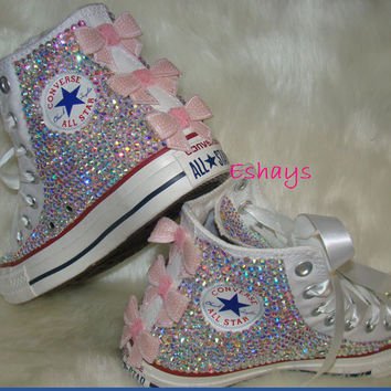 White High Top Sequin Pink Bow Sparkled AB Rhinestones Chucks 1f52426cb2