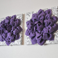 """Flower Wall Hangings -Lavender Purple Dahlias on White and Gray Damask 12 x12"""" Canvas Wall Art- Baby Nursery Wall Decor set of TWO"""