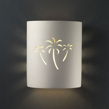 Justice Design Group CER9010WVANPALM Sun Dagger Vanilla Gloss Palm Cutout Small Cylinder Outdoor Wall Sconce - (In FFF-Vanilla Gloss(VAN))