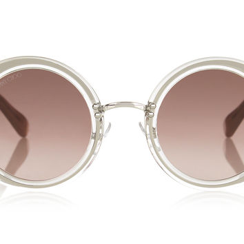 Jimmy Choo Gem Transparent Round Framed with Swarovski Crystals Sunglasses
