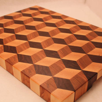3D End Grain Wood Cutting Board Tumbling Block Pattern made from Walnut, Maple, and Cherry Hardwoods.