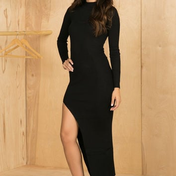 Ribbed High Slit Sweater Dress (Black)
