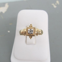 Art Deco Ring 10k Yellow Gold Ring Square Ring Estate Ring Vintage Engagement Ring Wedding Ring Size 6.75