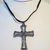 Unisex Gunmetal Cross Necklace Black Cord Jewelry Fashion Accessories For Him For Her