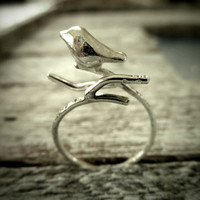 Tiny Bird On Branch Adjustable Ring Handmade Fine by palefishny