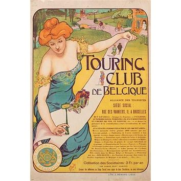 touring club de belgique VINTAGE FRENCH AD POSTER art deco UNIQUE 24X36 hot