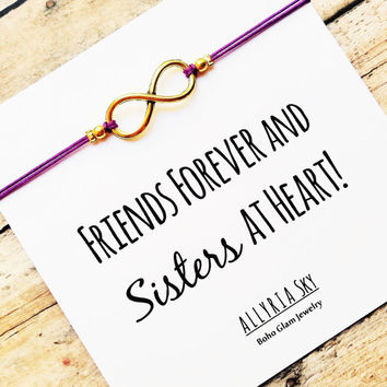 "Gold Infinity Friendship Bracelet With ""Friends Forever and Sisters at Heart"" Card 