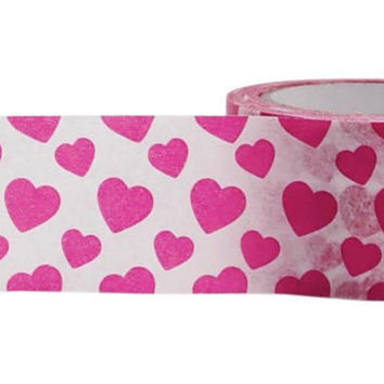 Washi Tape, Pink Heart Washi Tape, Planner Accessories,  Journal Tape, Printed Paper Tape, Embellishment, Craft Tape, Gift Wrap, Cardmaking