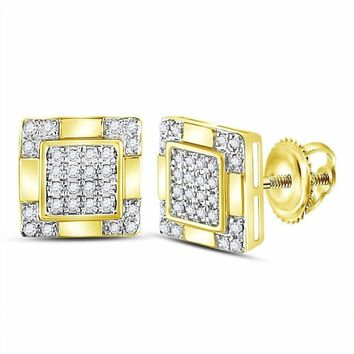 10kt Yellow Gold Mens Round Diamond Square Cluster Stud Earrings 1-6 Cttw