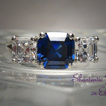 Warm White and Blue Sapphire Asscher Cut High Quality Cubic Zirconia Sterling Silver or 14k Gold Three Stone Ring Made to Order