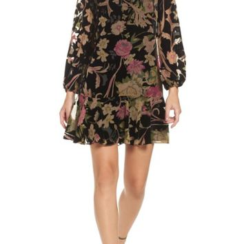 Eliza J Print Velvet Shift Dress (Regular & Petite) | Nordstrom