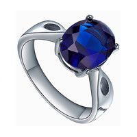 Stainless Steel Oval Blue Cubic Zirconia Solitaire Ring