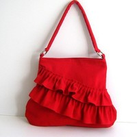 Canvas Ruffles Bag / FRILLY BAG in cRIMSON RED (Bright Red) / Zipper closure / Everyday Purse / Pleated / Medium / Cloudy