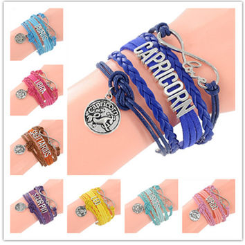 Infinity Love Sign Bracelet 12 constellations Bracelet Punk Leather Zodiac Bracelet Charm Jewelry SL-454