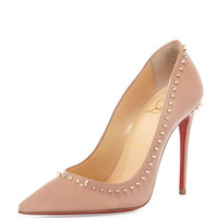 Christian Louboutin Anjalina Spike Patent Red Sole Pump, Nude/Golden