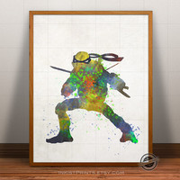 Ninja Turtles Print Watercolor, Leonardo Teenage Mutant Poster, Art, Illustration, Watercolour, Giclee Wall, Kid Artwork, Comic, Fine, Decor