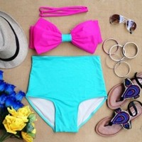 Pastel Bow High Waist Swimsuit - Pink Top & Green Bottom - Smoky Mountain Boutique