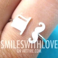 Classic Mustache and Top Hat Adjustable Ring in Silver | DOTOLY