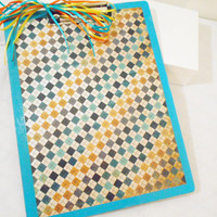 Argyle Double Sided Hand Made Decorative Clip Board with Blue and Yellow Accents - Teacher & Student Gifts - Office Supply - College, Mentor