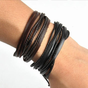 Men's Leather Wrap Bracelet with Hemp Women's Leather Braided Bracelet Hemp Braclet Couples His and Hers   Item # BST-123