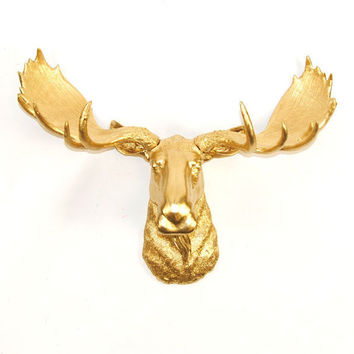 White Faux Taxidermy - Gold Moose Head - The Elcide - Faux Taxidermy - Chic & Trendy