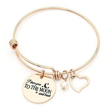 MONASOC Charm Bracelet Expandable Wire Bangle Bracelet Gift Inspirational Jewelery For Women Girl Sister Mother Friends