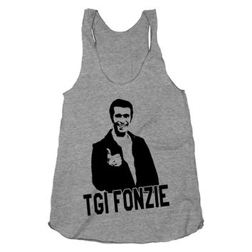 TGI Fonzie, Thank Got Its Fonzi, Funny, Shirt, Athletic Grey American Apparel Racerback Tank Top