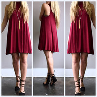 A Mock Neck Knit Dress in Burgundy