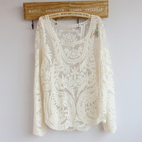 Sexy Lace Gradient Pierced Perspective Long-sleeved Shirt