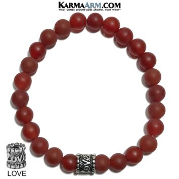 ANXIETY RELIEF : Red Agate | LOVE Bead | Yoga Meditation Bracelet | 8mm
